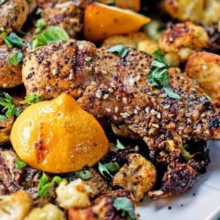 Pollo a la plancha turco y verduras asadas