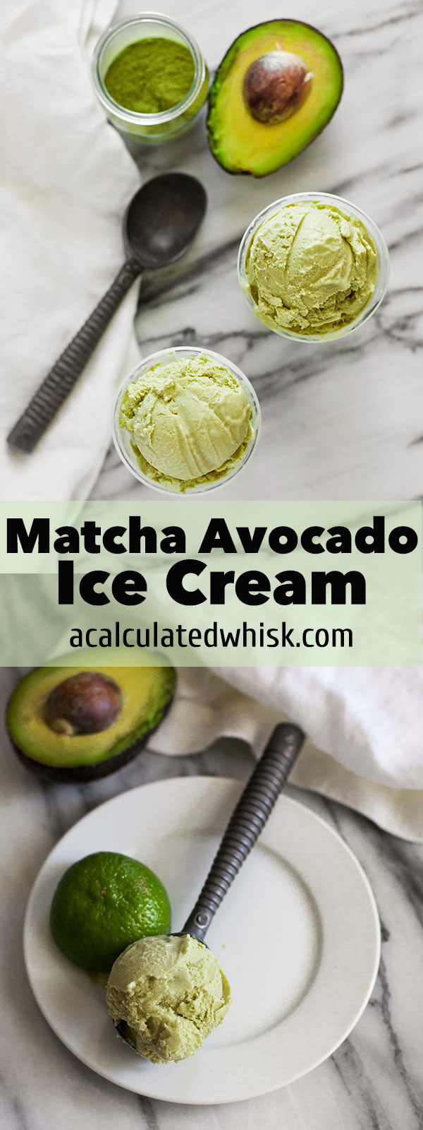 Helado de aguacate Matcha (sin gluten con una opción sin lácteos)