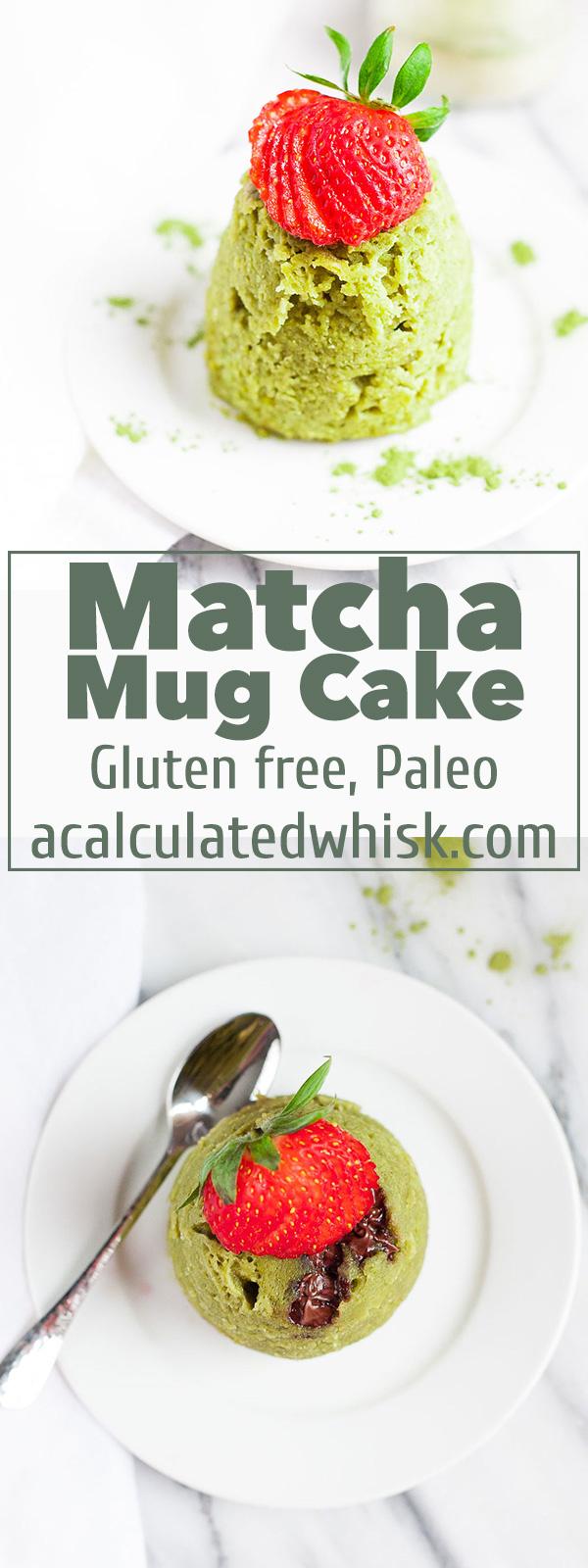 Pastel de Matcha Mug (Paleo, sin gluten) | acalculatedwhisk.com