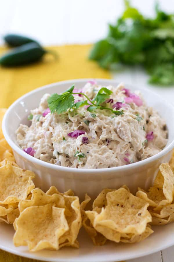 Tex Mex Chicken Salad with jalapeno and cilantro is a fiesta for your taste buds!