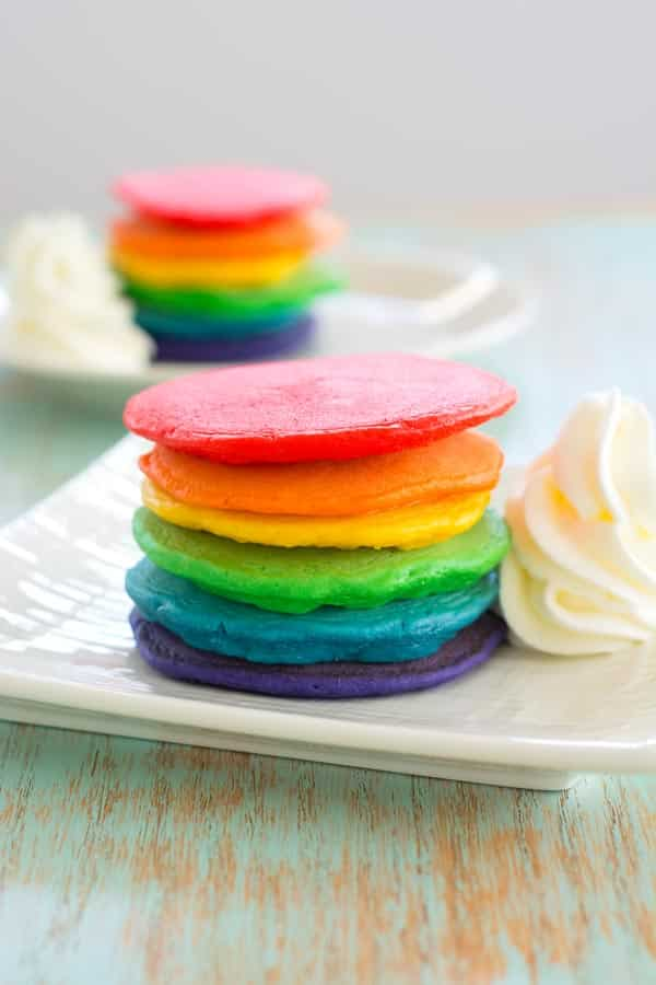 Serve these rainbow pancakes for St. Patrick