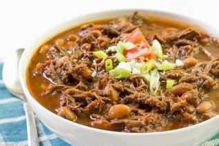 Cocina lenta tirada chili de carn