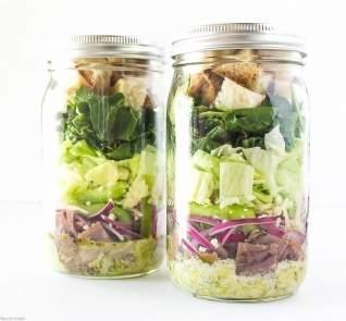 Philly Cheesesteak Mason Jar ensaladas