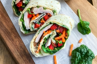 5 minutos de proteínas de arco iris vegetarianos Wraps