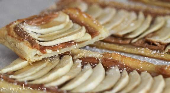 Tarta de mantequilla de maní y manzana con miel