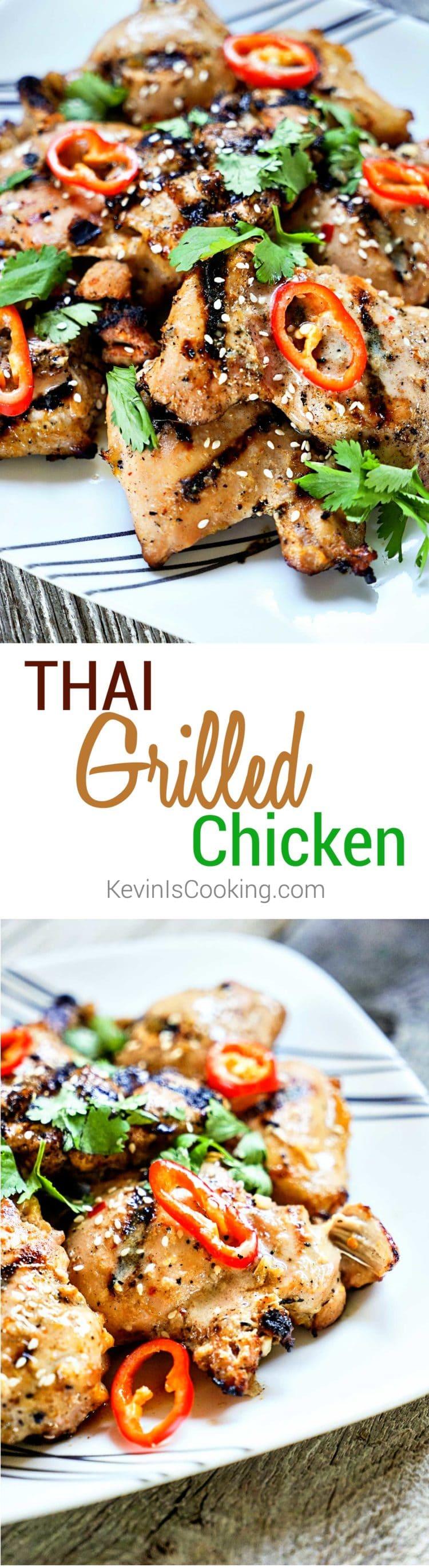 Tasty , ¿auténtica comida tailandesa de calle? Este increíble pollo a la parrilla tailandés ofrece un GRAN tiempo de sabor con limoncillo fresco y salsa de pescado en la marinada. ¡Qué bueno!