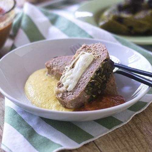 Pastel de carne ahumado relleno doble queso