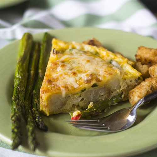 Asparagus Tater Tot Frittata from Feed Your Soul Too