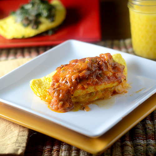 Green Chili, Cheese and Ranchero Sauce Omelette