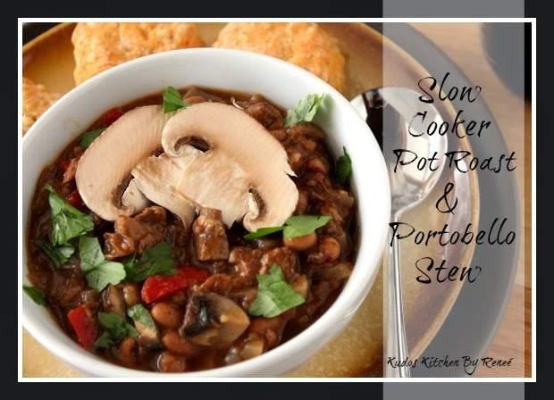 Olla de cocción lenta y estofado de Portabello ~ #SundaySupper udos Kudos Kitchen by