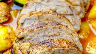 Solomillo de cerdo al horno ennegrecido y verduras