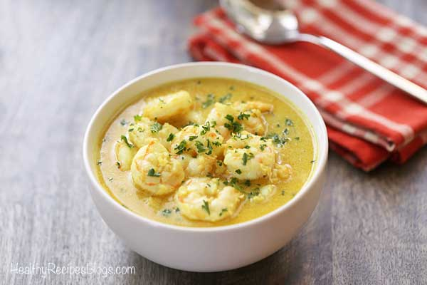 Coconut Curry Shrimp in a white bowl