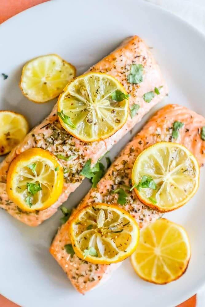 Receta Easy Air Fryer Lemon Garlic Salmon