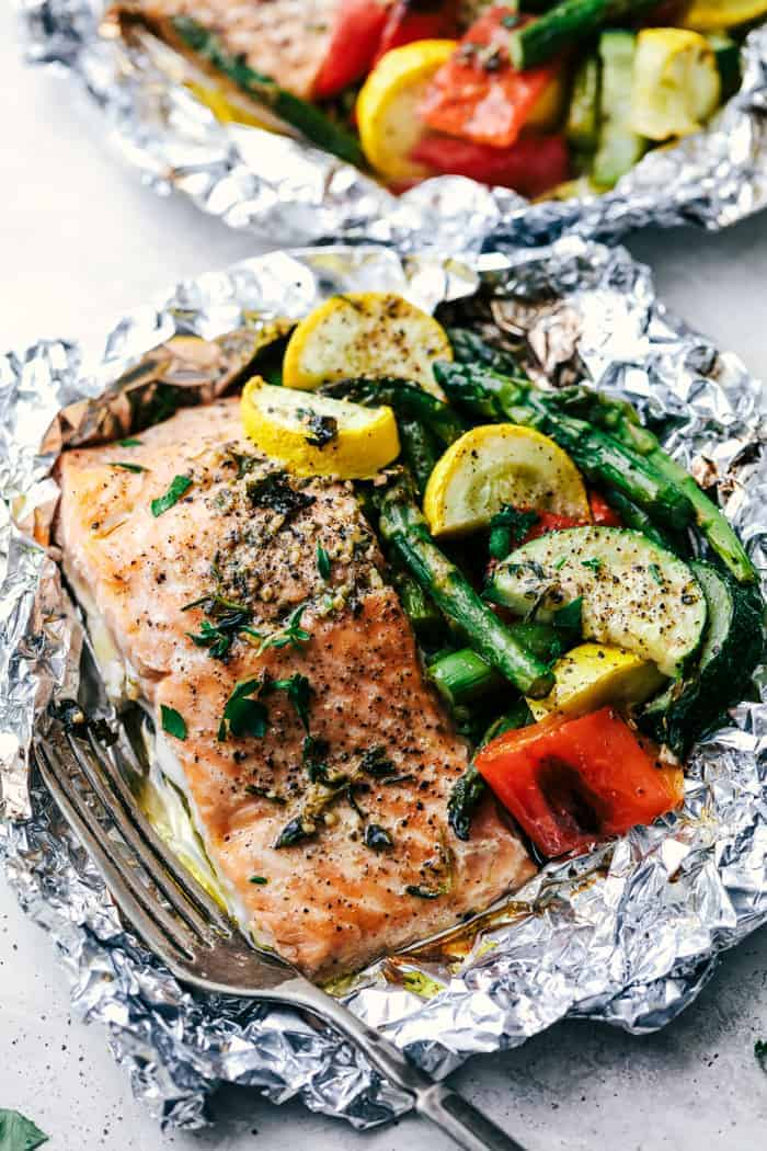 Butter Garlic Herb Salmon Foil Packets | The Recipe Critic