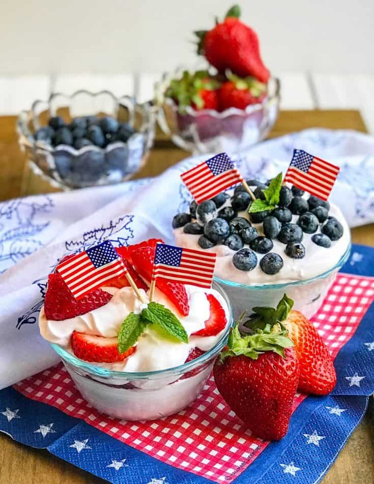 Red, White, and Blue Summer Berry Yogurt Mousse