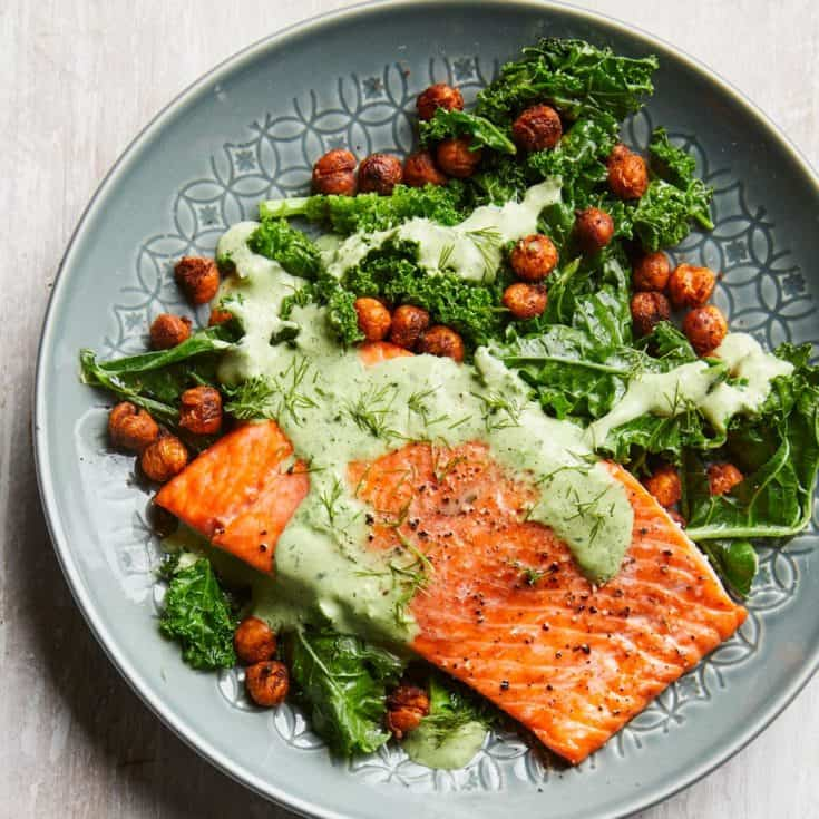 TUESDAY: Roasted Salmon with Smoky Chickpeas & Greens Recipe