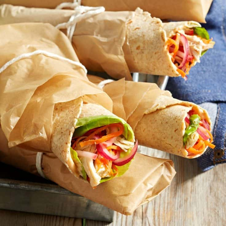 Tuesday: Pulled Chicken & Pickled Veggie Wraps Recipe