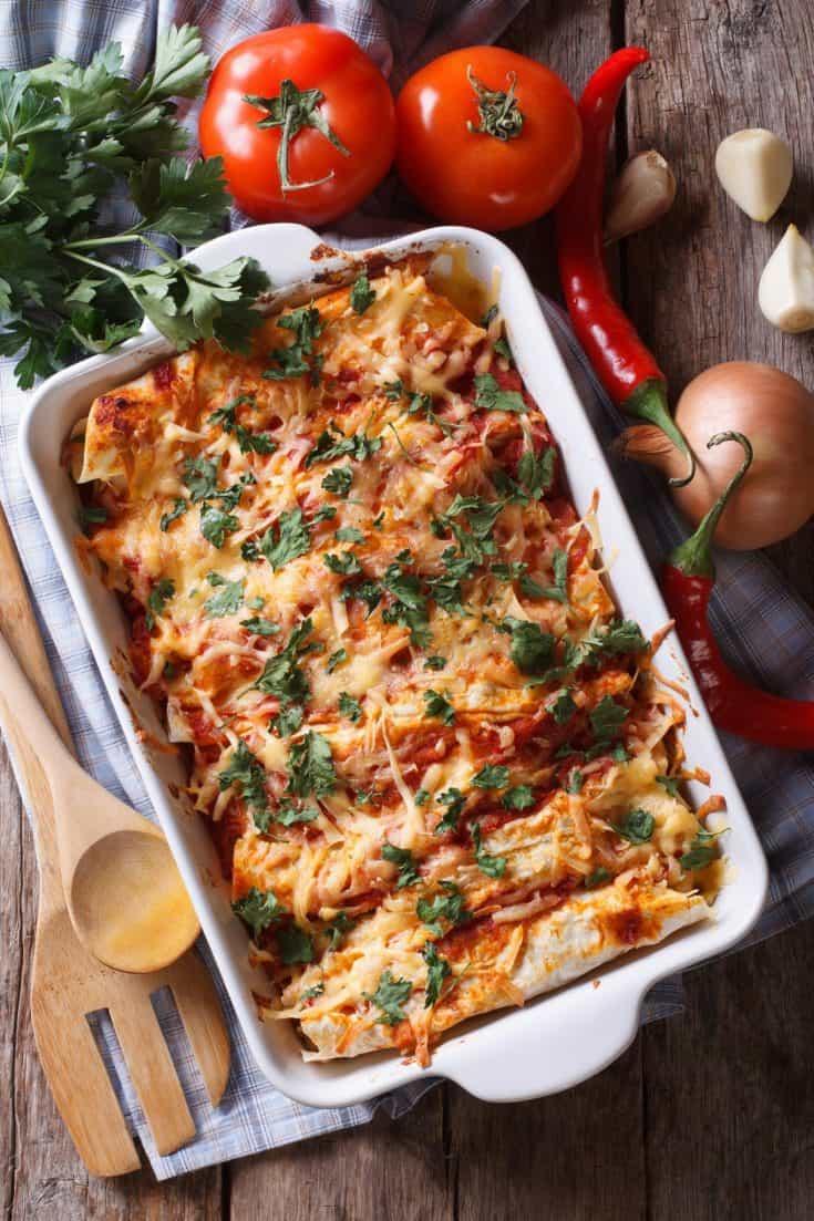 Easiest Chicken Enchiladas Ever with Leftover Chicken