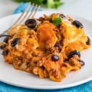Enchilada Casserole on white plate