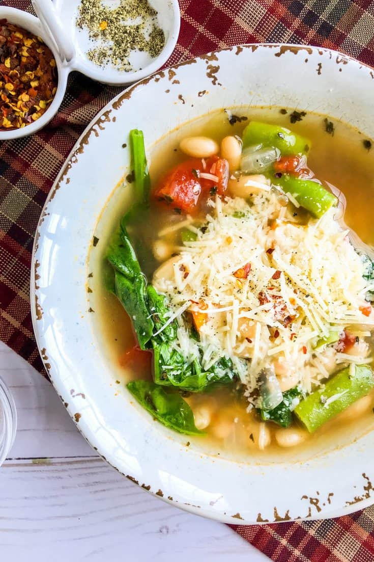15 Minute White Bean Soup with Garden Vegetables