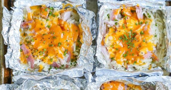 Ham and Cheese Hash Brown Foil Packets