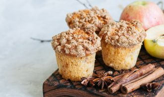 Muffins on a wooden board