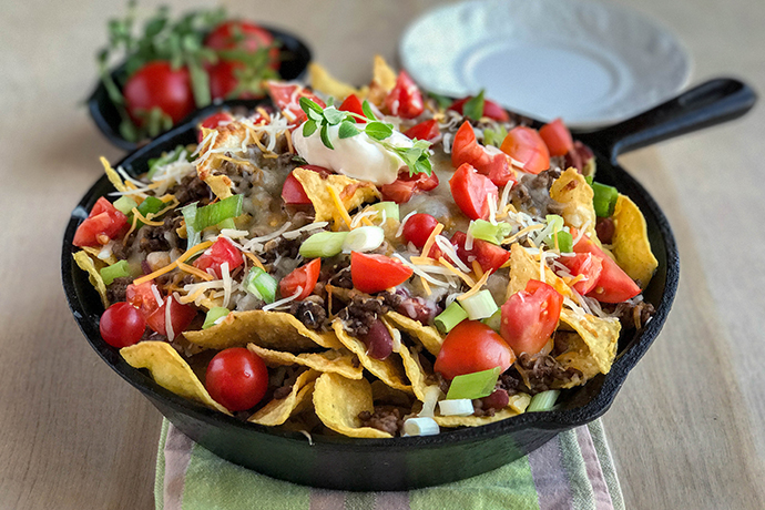 Easy Beef Skillet Nachos for your Next Party or Game Day
