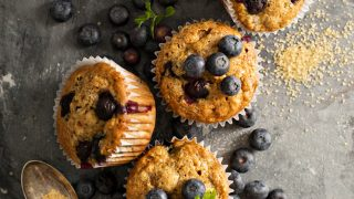 Healthy Whole Wheat Cinnamon Blueberry Muffins