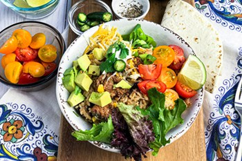 closeup of turkey burrito bowl