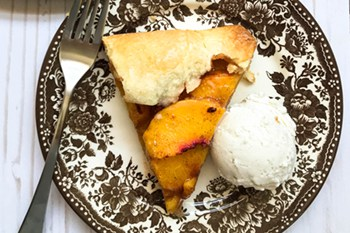 thumbnail size of a slice of peach galette