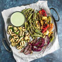 Verduras a la plancha con alioli de jalapeño