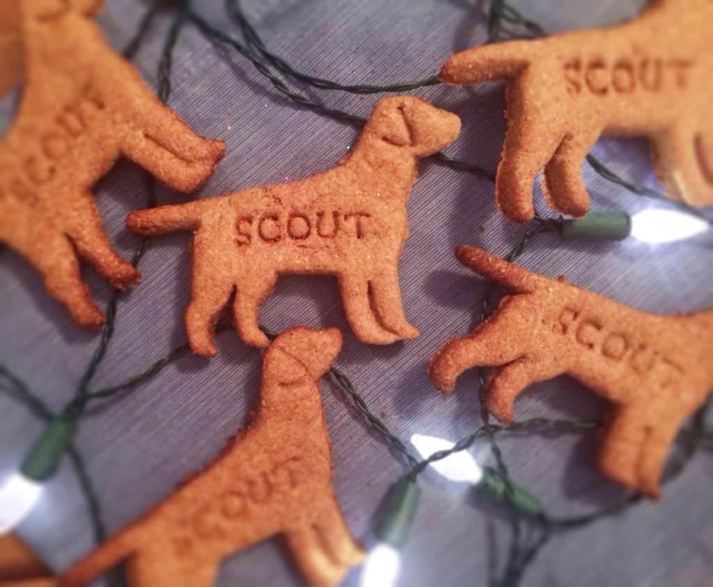 galletas caseras para perros colocadas junto a las luces de navidad