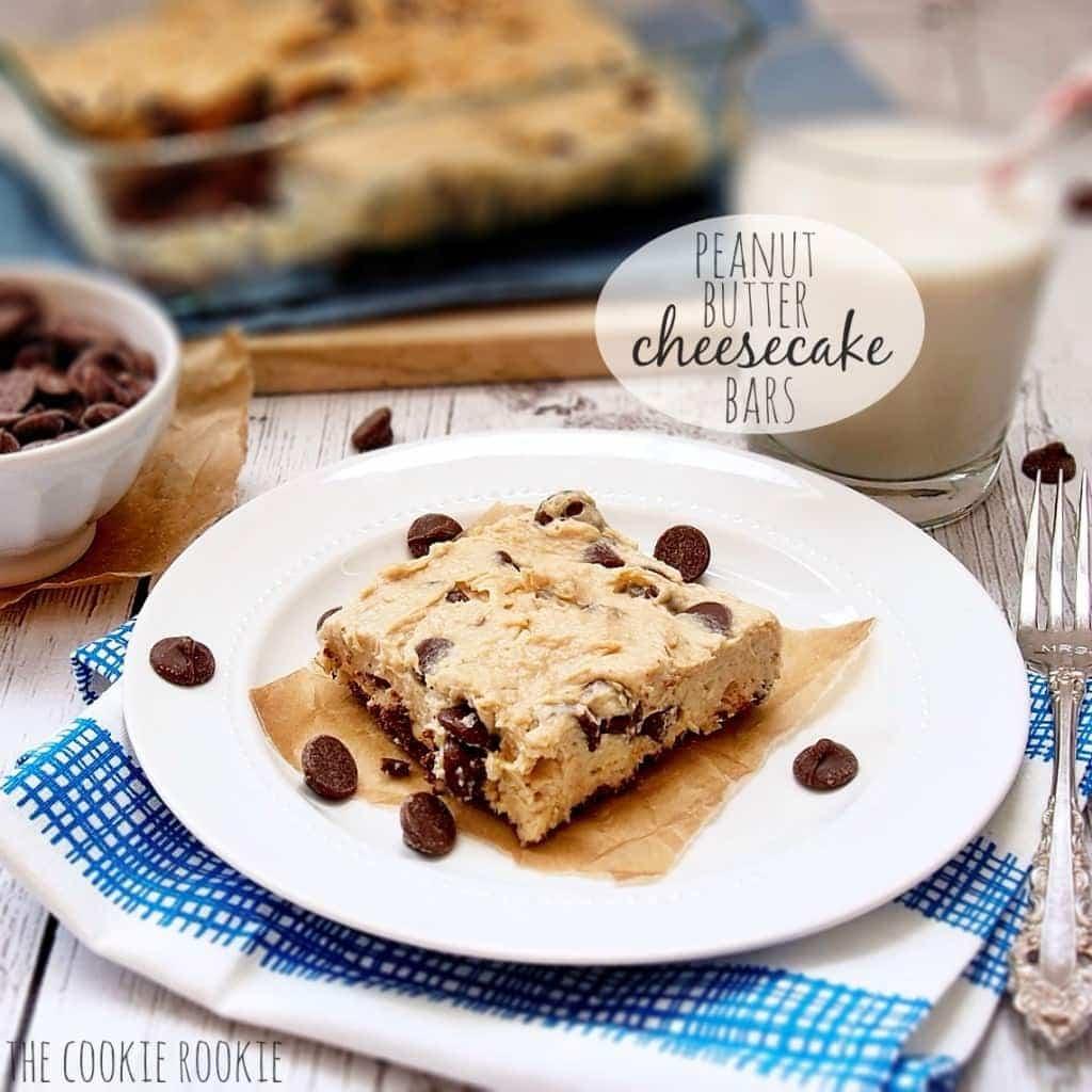 NO BAKE Barras de pastel de queso con mantequilla de maní, ¡el dulce perfecto rápido y fácil! {El novato de las galletas}