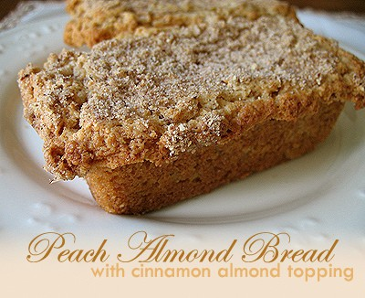 Peach Almond Bread with Cinnamon Topping - AmandasCookin.com