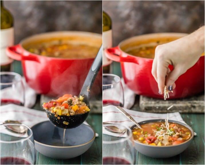 sirviendo sopa en un tazón; espolvorear queso sobre la sopa