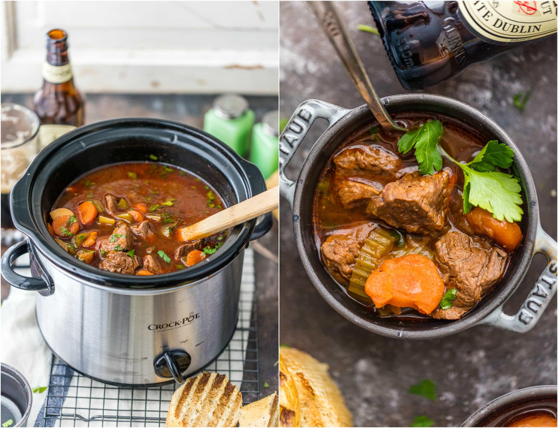 collage de fotos: izquierda, estofado de ternera en una olla eléctrica; a la derecha, estofado de ternera en un bol