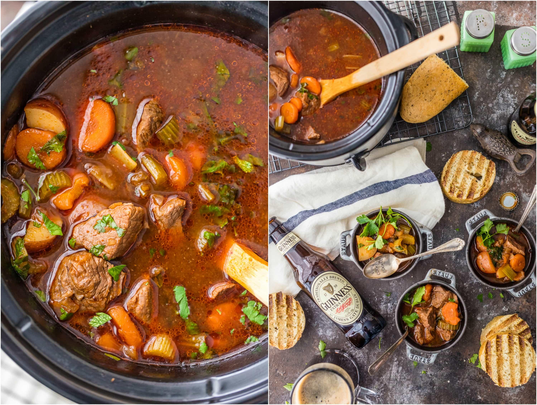 ¡El estofado de carne Guinness de cocción lenta es una receta irlandesa favorita en nuestra casa! ¡Hacemos esta sopa de carne crockpot para el Día de San Patricio y no podemos tener suficiente! ¡La receta perfecta de comida casera de cocción lenta para el día de San Patricio!