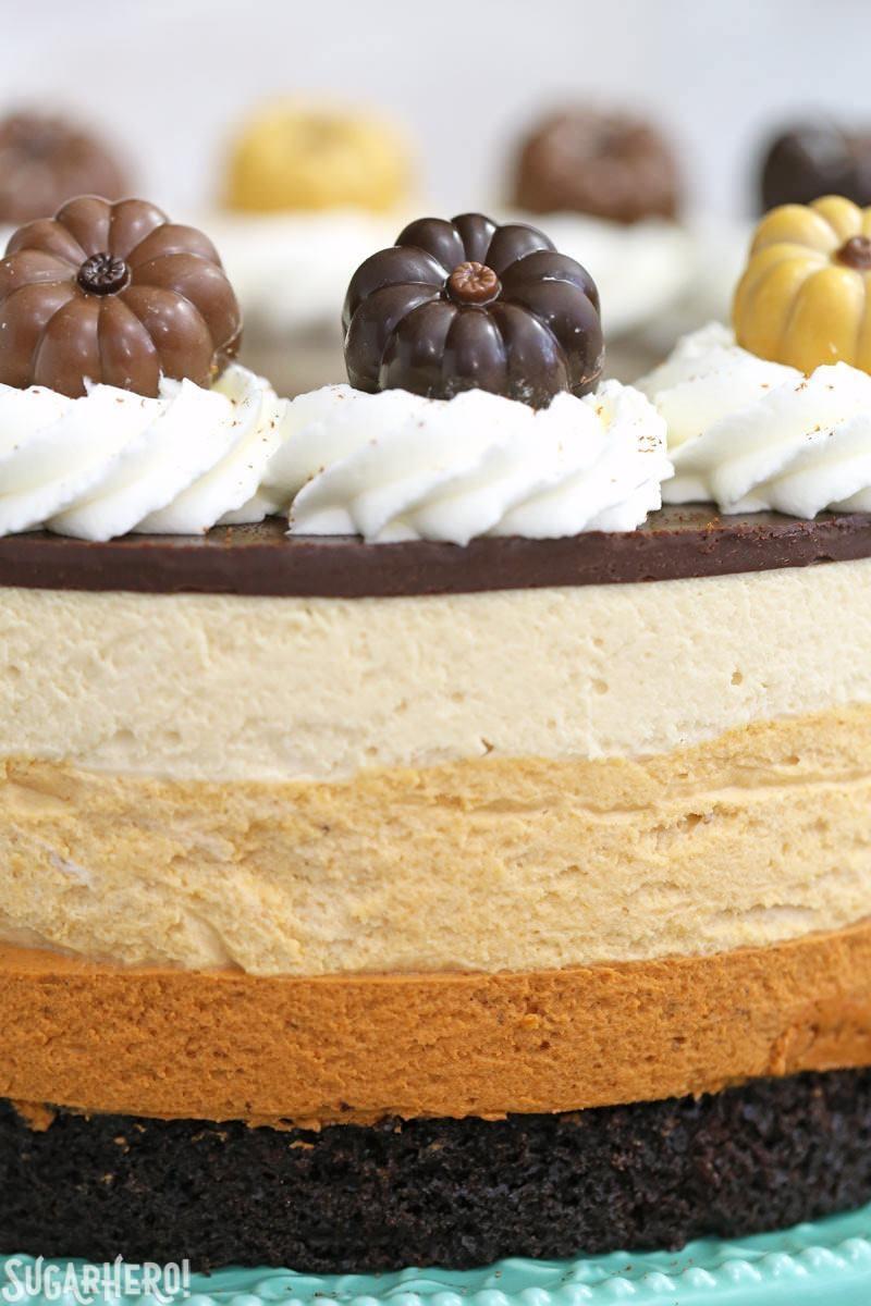 Pastel de mousse de calabaza y chocolate: primer plano de los adornos de calabaza y que muestra cada capa de mousse. El | De SugarHero.com