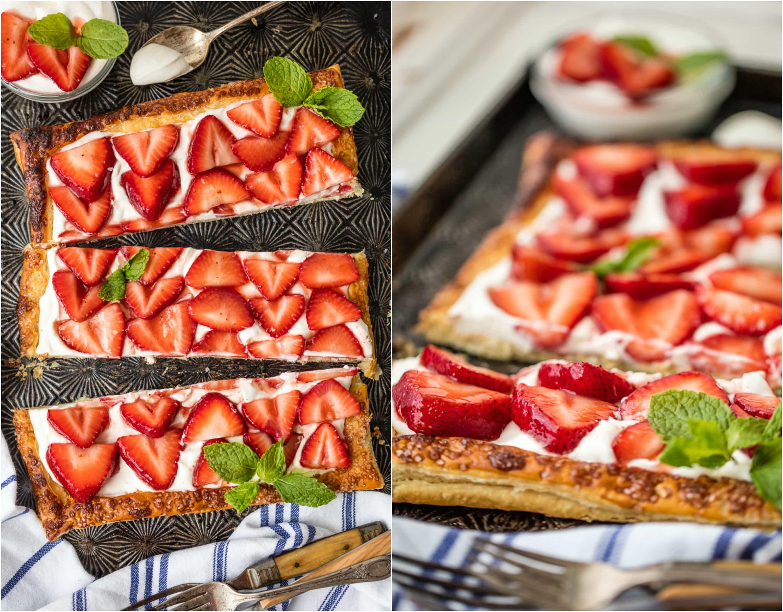 tarta de hojaldre de fresa
