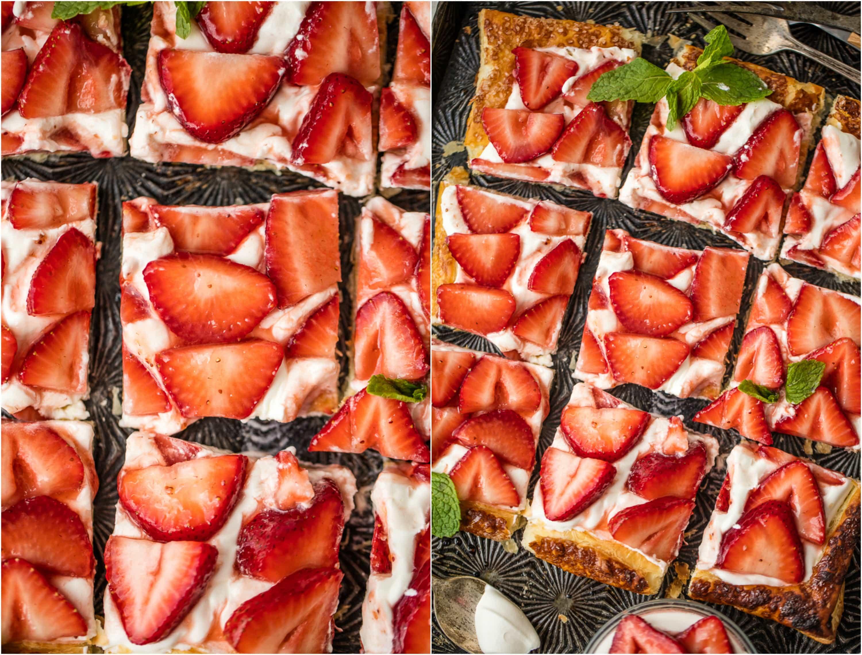 tarta de fresa cortada en cuadrados