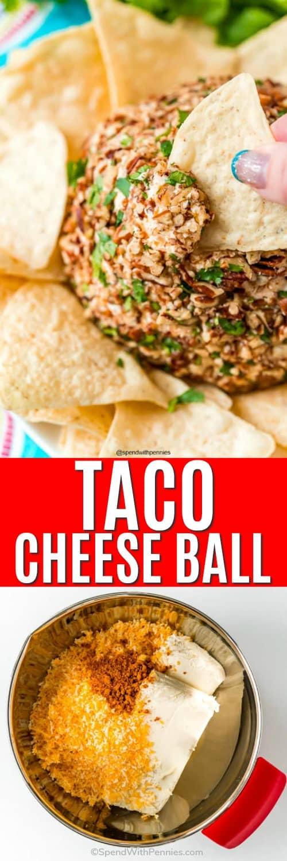 Foto superior: un trozo de tortilla se sumerge en una bola de queso. Foto inferior: queso y especias en un recipiente de metal para hacer una bola de queso.