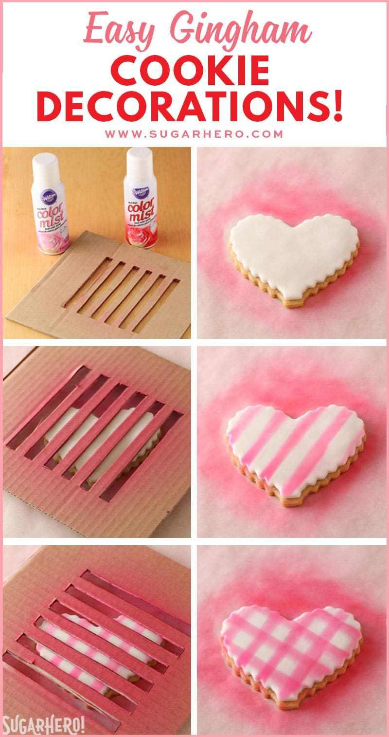 Brown Butter Heart Cookies - tutorial fotográfico que muestra cómo crear el patrón de guinga en fondant usando aerosoles de niebla de color | De SugarHero.com