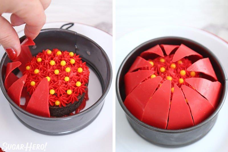 Blooming Flowers de chocolate: colocando pétalos rojos curvados alrededor del borde de una bandeja con forma de resorte para crear una esfera | De SugarHero.com
