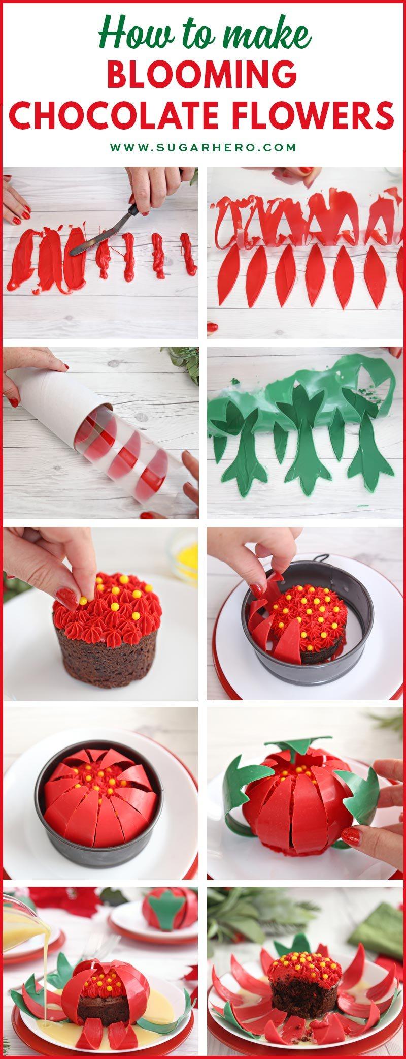 Blooming Chocolate Flowers - collage de fotos que muestra fotos paso a paso para hacer una flor de chocolate en flor | De SugarHero.com