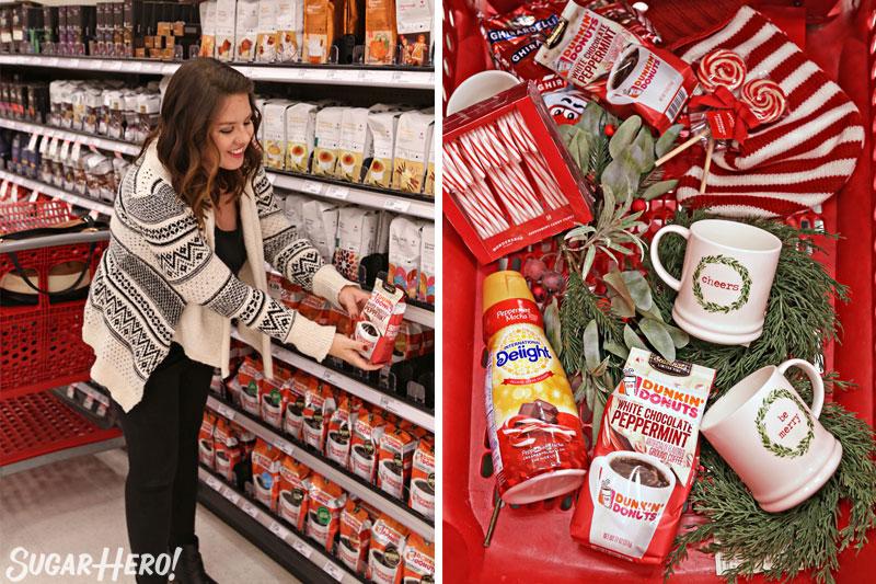 Peppermint Affogato: dos fotos: comprar café en Target y una foto del contenido del carrito   De SugarHero.com