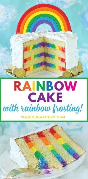 Pastel arcoiris con crema de mantequilla arcoiris | De SugarHero.com