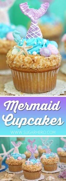 Cupcakes de sirena: ¡magníficos cupcakes bajo el mar con colas de sirena y conchas de chocolate! El | De SugarHero.com