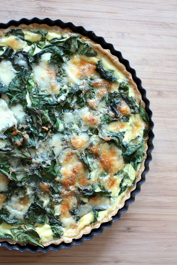 This swiss chard leek and gruyere quiche is perfect for weekend brunch. Full of healthy green vegetables and just a touch of delicious gruyere.