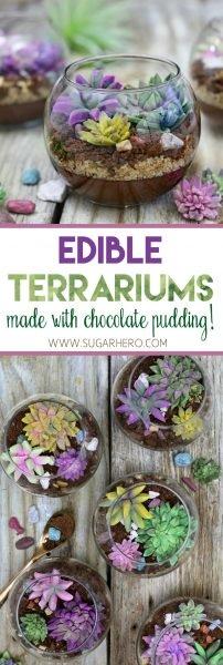 Terrarios comestibles con pudín de chocolate | De SugarHero.com