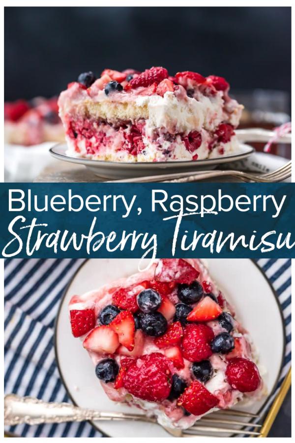 ¡El tiramisú de fresa con arándanos y frambuesas es un delicioso postre de triple baya! Esta receta de tiramisú afrutado es dulce, hermosa, fácil y TAN deliciosa. ¡Es la receta de postre fácil y perfecta para el Día de San Valentín, el 4 de julio o cualquier otro día del año! #thecookierookie #dessert #berries #strawberry #tiramisu #valentinesday # 4thofjuly
